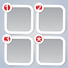 One, Two, Three and Star, square progress labels in white