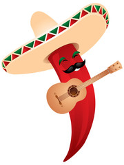 Chili pepper  in  Mexican sombrero