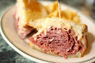 Traditional Reuben sandwich at a deli.