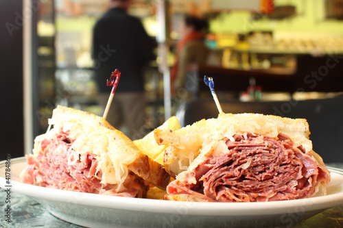 Traditional Reuben sandwich at a deli.