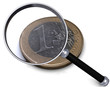 Euro mit Lupe