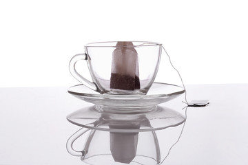 A tea bag in a cup