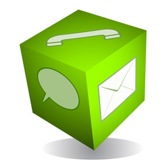 Communication cube icon