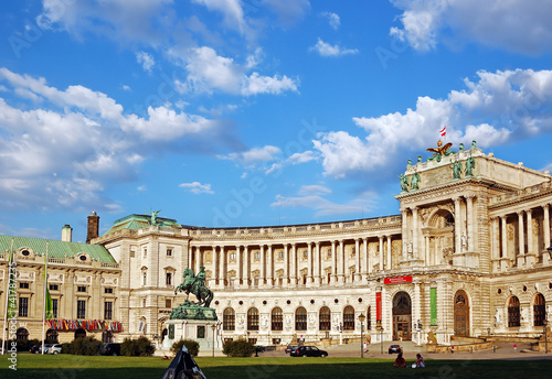 Austrian National Library under picturesque cloudy sky