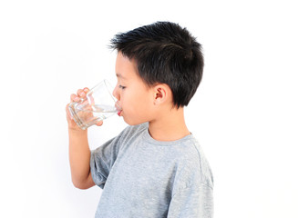 Boy Drinking Water Isolated