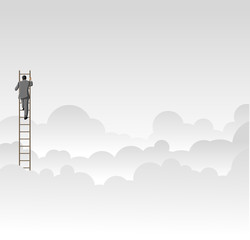 Business man climbing high ladder above the clouds