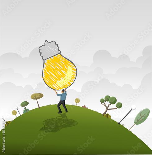 Business man changing big light bulb. Idea.