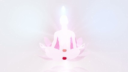 Young woman meditate. Yoga practice. Chakra activation.