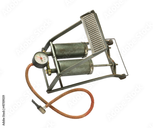Dirty foot pump isolated on white background