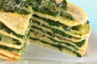 Fresh homemade savory crepes layered with chard