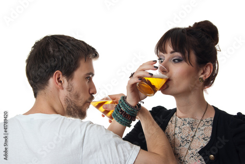 Romantic couple drinking beer