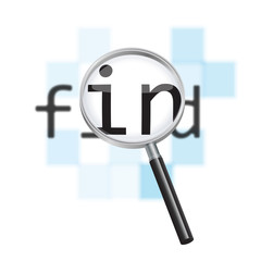 Internet search concept.  Magnifier & abstract pixel background.