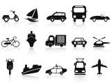 Fototapety black transportation icons set