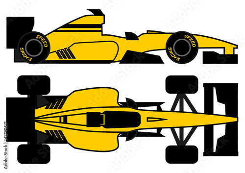 Yellow racing car