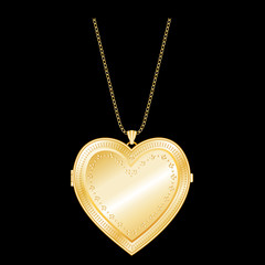 Vintage Engraved Gold Heart Locket, Chain Necklace. EPS8.