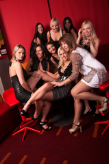 Image of group pretty girls in night club