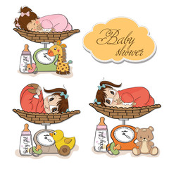 baby girl on on weighing scale, items set on white background