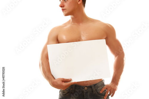A muscular man with a blank