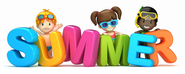 3d render of a summer word and kids