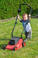 Kleiner Junge beim Rasen mähen