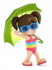 3d render of a kid with umbrella