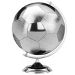 stainless steel globe of the soccer tournament isolated on white