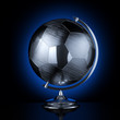 Stylish stainless steel globe of the soccer tournament