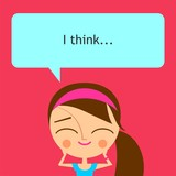 Cute girl with speech bubble on pink background