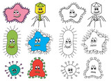 Illustration of bacteria and virus poster
