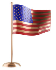 golden American flag isolated on white background