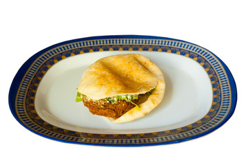 Flat Bread Pita Sandwich Falafel Isolated