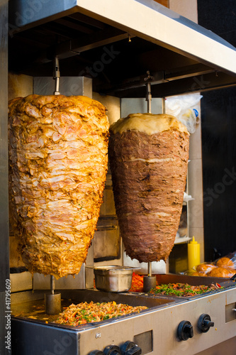 Fotobehang Midden Oosten Angled Chicken Lamb Middle Eastern Meat Grill