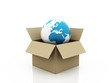 Global Shipping, world in shipping box