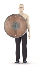 3d render of artificial character with shield