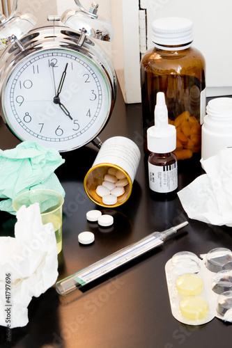 night table of the flu patient