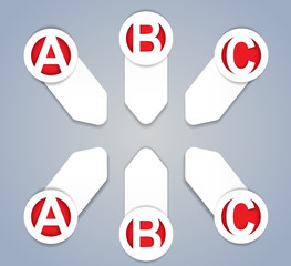 ABC vector progress icons in White