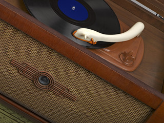 Vintage radio-gramophone with a gramophone record