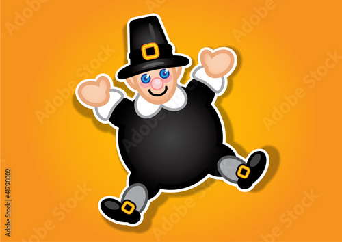 Thanksgiving Pilgrim Vector Sticker / Label
