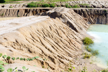 Eroded cut bank of small river