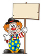 Leinwanddruck Bild - Clown with Board