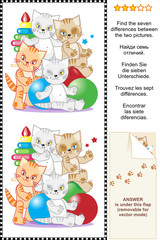 Find the differences visual puzzle - kittens