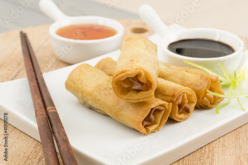 Juliste Spring Rolls - Fried duck spring rolls, soy & sweet chili sauce