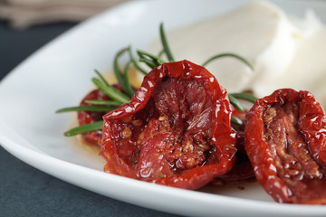 Sun-dried tomatoes and mozzarella