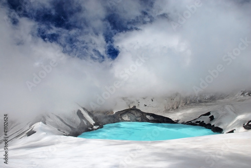 Crater lake on top of Mt Ruapehu, Tongariro national park