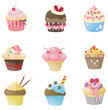 Cute cupcake with 9 different look, design by vector