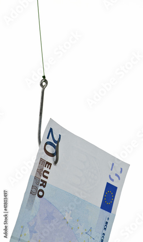 money on hook in white background