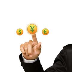 Business man hand press yen sing button