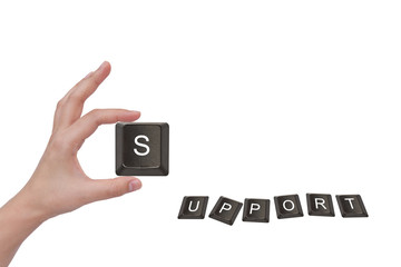 """Word """" support """" and female hand, business concept, isolated on"""