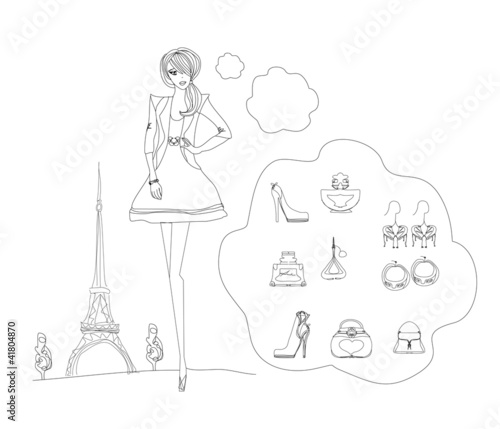 Spoed canvasdoek 2cm dik Doodle Paris fashion doodles set