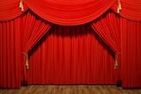 Red stage theater velvet drapes